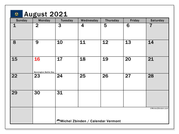 "Printable ""Vermont"" calendar with public holidays. Monthly August 2021 calendar and planner to print free."