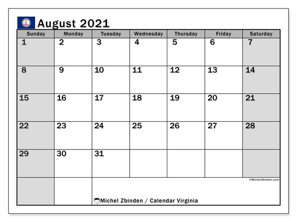 August 2021 Calendar, with the holidays of Virginia. Holidays calendar to print free.