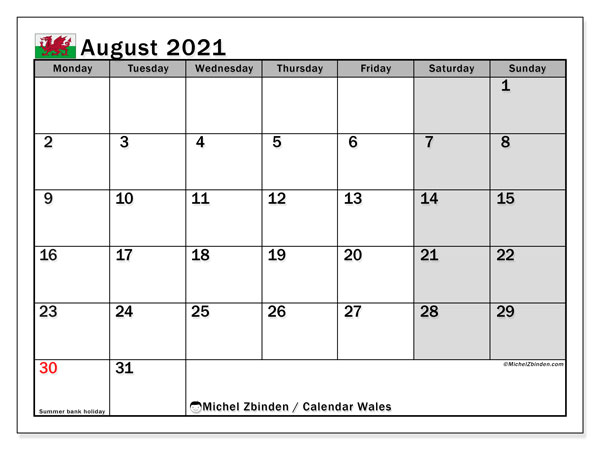 August 2021 Calendar, with the holidays of Wales. Free printable calendar with public holidays.