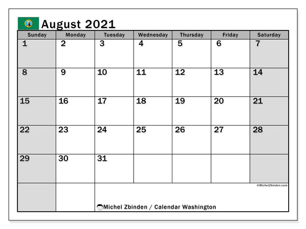 August 2021 Calendar, with the holidays of Washington. Holidays calendar to print free.