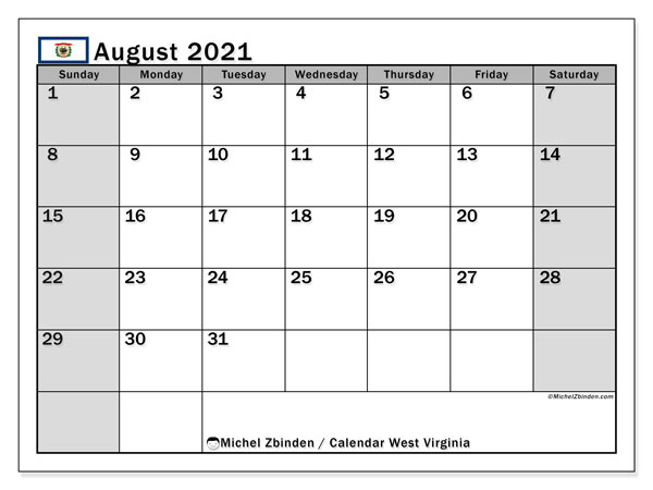 August 2021 Calendar, with the holidays of West Virginia. Holidays calendar to print free.
