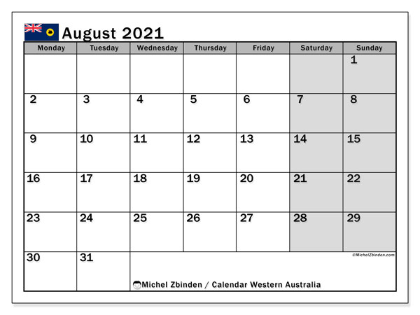 August 2021 Calendar, with the holidays of Western Australia. Holidays calendar to print free.