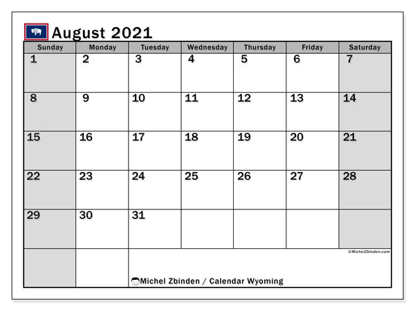 August 2021 Calendar, with the holidays of Wyoming. Holidays calendar to print free.