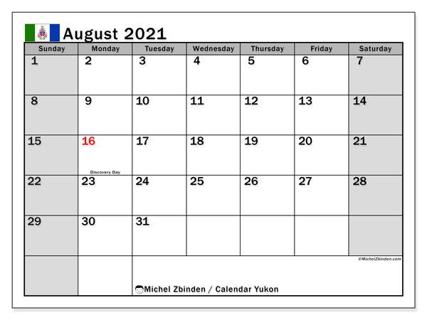 August 2021 Calendar, with the holidays of Yukon. Holidays calendar to print free.