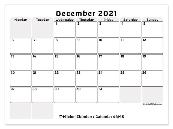 Calendar December 2021 - 44MS. The right boxes. Monthly Calendar and free printable planner.