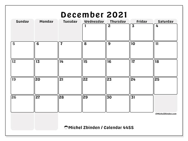 December 2021 Calendar, 44SS. Monthly planner to print free.