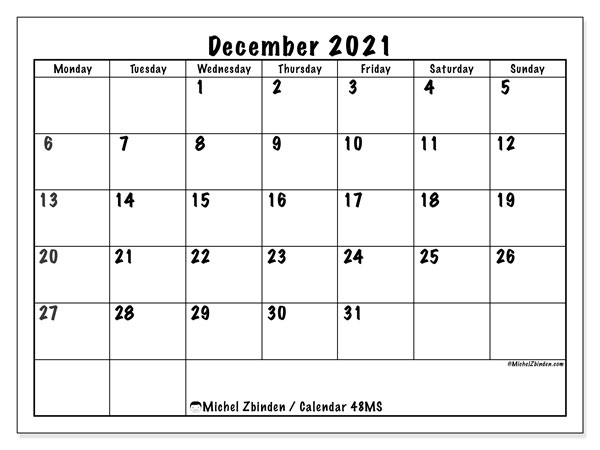 December 2021 Calendar, 48MS. Free printable bullet journal.