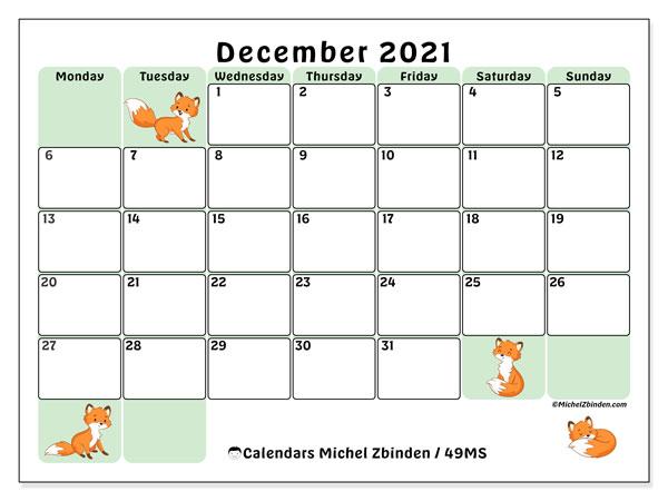 December 2021 Calendar, 49MS. Free printable planner.
