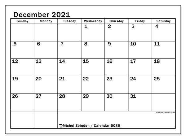 December 2021 Calendar, 50SS. Monthly calendar to print free.