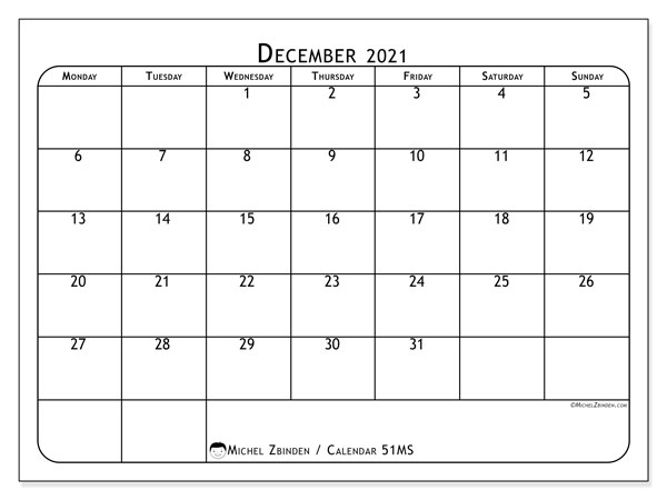 December 2021 Calendar, 51MS. Free printable bullet journal.