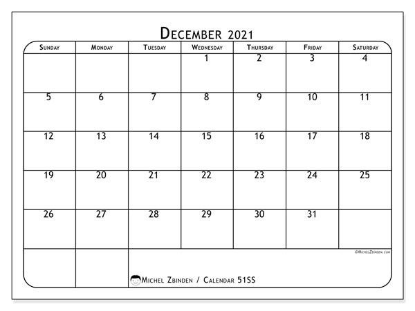 December 2021 Calendar, 51SS. Free planner to print.