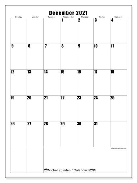 December 2021 Calendar, 52SS. Free printable monthly calendar.