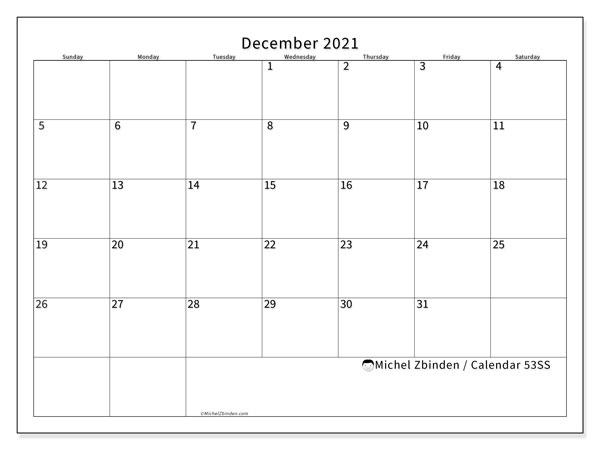 December 2021 Calendar, 53SS. Free printable monthly planner.