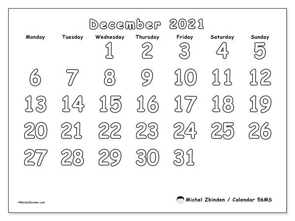 December 2021 Calendar, 56MS. Free printable bullet journal.