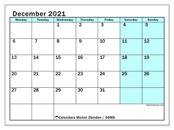 December 2021 Calendar, 59MS. Free printable bullet journal.