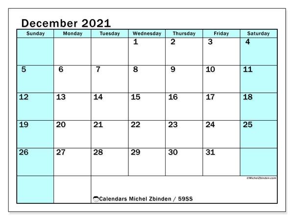 December 2021 Calendar, 59SS. Free calendar to print.