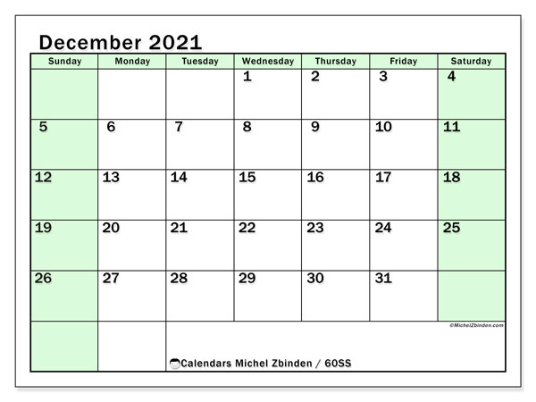 Calendar December 2021 - 60SS. Bright Green. Monthly Calendar and bullet journal to print free.