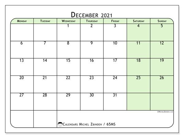December 2021 Calendar, 65MS. Bullet journal to print free.