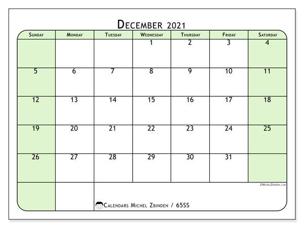 December 2021 Calendar, 65SS. Free planner to print.