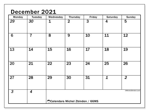 Calendar December 2021 - 66MS. The Total. Monthly Calendar and free planner to print.