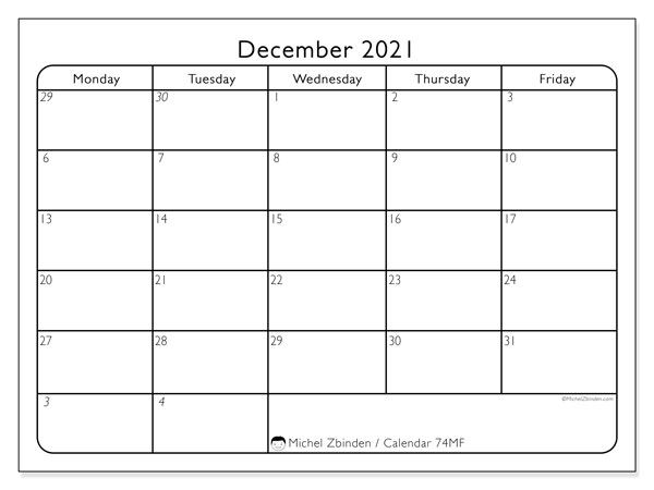 "Printable December 2021 calendar. Monthly calendar ""74MS"" and free agenda to print"