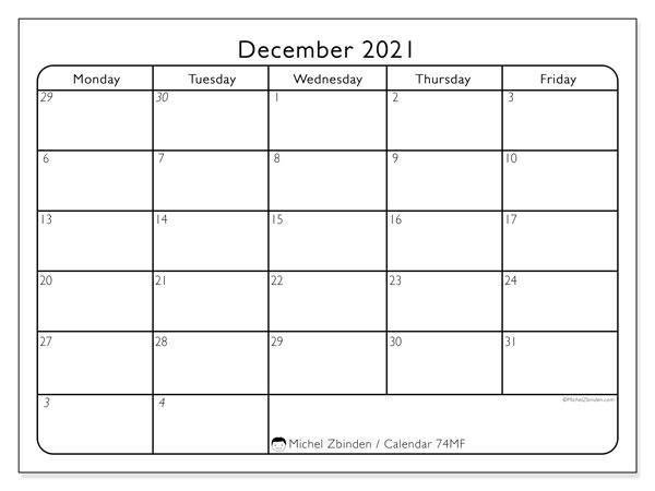 December 2021 Calendar, 74SS. Calendar to print free.