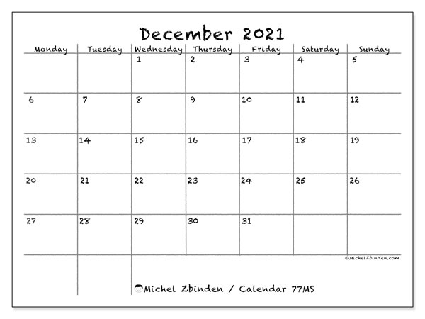 Printable calendars, December 2021, Monday - Sunday