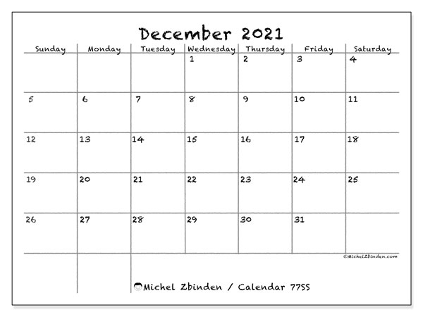Printable calendars, December 2021, Sunday - Saturday