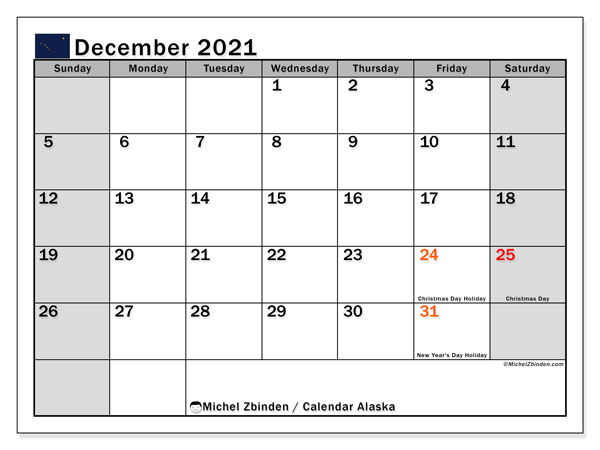 Calendar December 2021 - Alaska. Public Holidays. Monthly Calendar and free planner to print.