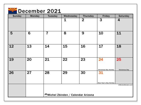 December 2021 Calendar, with the holidays of Arizona. Holidays calendar to print free.