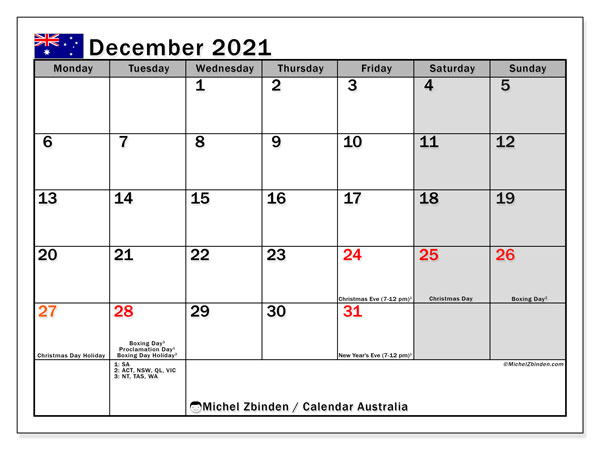 December 2021 Calendar, Australia - Michel Zbinden EN