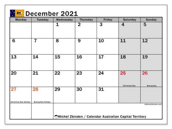 December 2021 Calendar, with the holidays of Australian Capital Territory. Holidays calendar to print free.