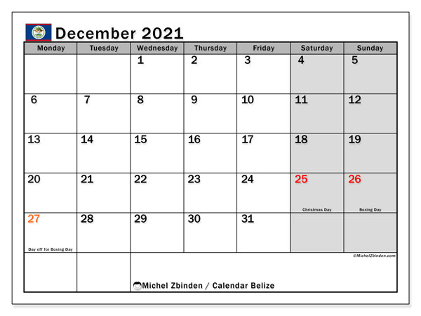 December 2021 Calendar, with the holidays of Belize. Holidays calendar to print free.
