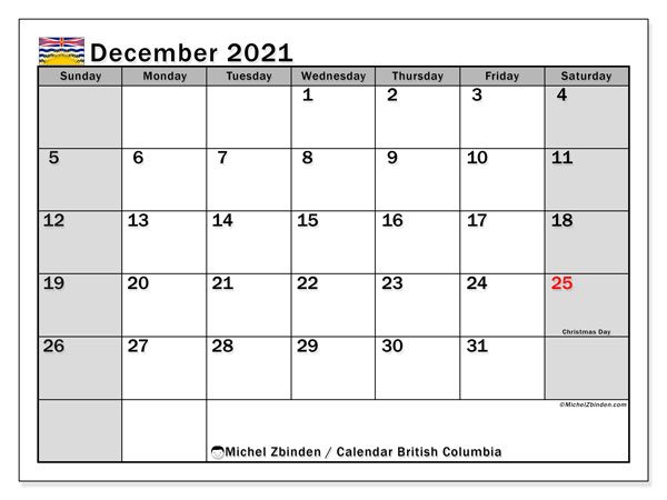 December 2021 Calendar, with the holidays of British Columbia. Holidays calendar to print free.