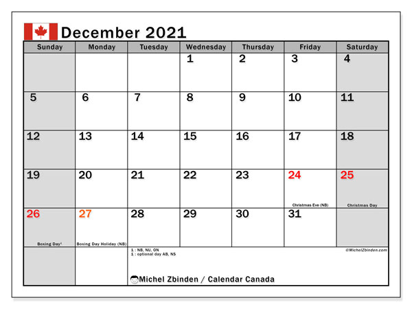 Printable calendars, December 2021, Public Holidays