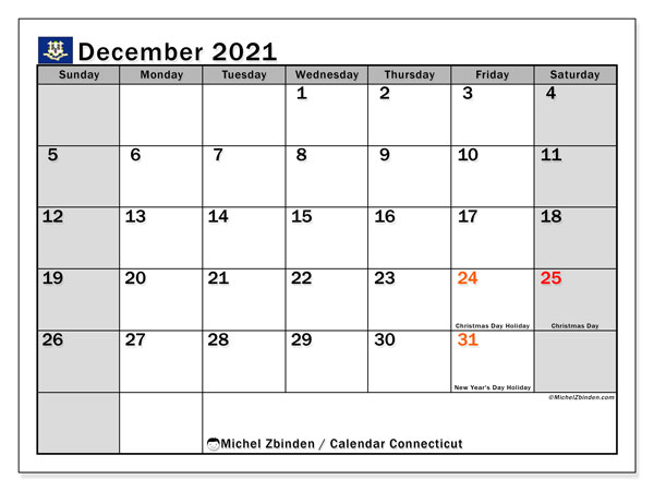 December 2021 Calendar, with the holidays of Connecticut. Holidays calendar to print free.
