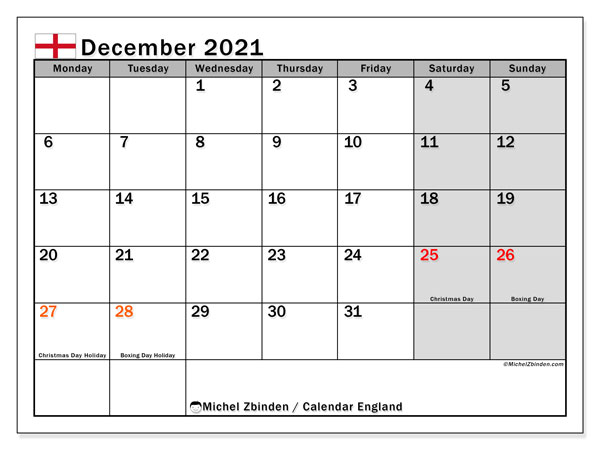 December 2021 Calendar, with the holidays of England. Free printable calendar with public holidays.