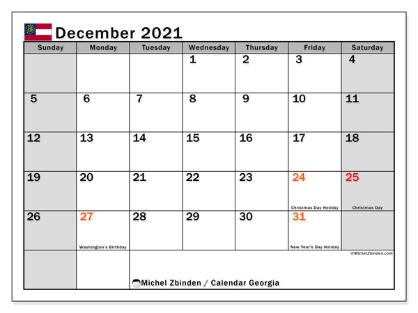 "Printable ""Georgia"" calendar with public holidays. Monthly December 2021 calendar and free printable bullet journal."