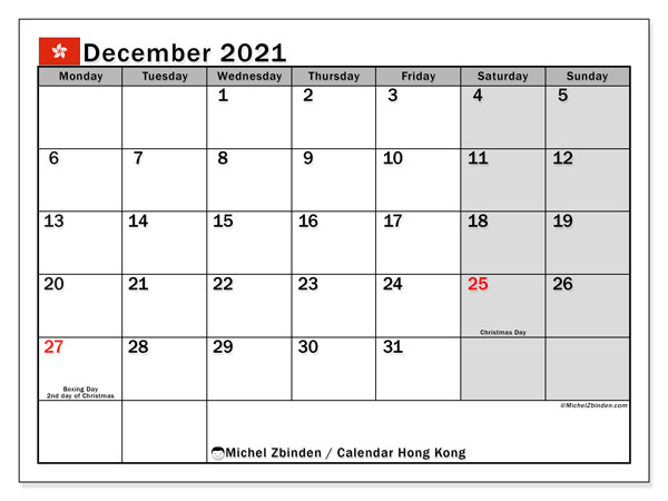 December 2021 Calendar, with the holidays of Hong Kong. Free printable calendar with public holidays.