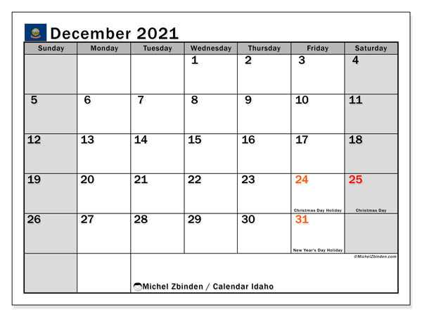 Calendar December 2021 - Idaho. Public Holidays. Monthly Calendar and free planner to print.