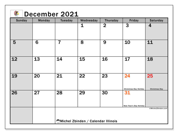 December 2021 Calendar, with the holidays of Illinois. Free printable calendar with public holidays.