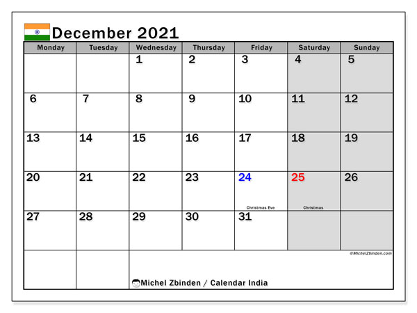 Calendar December 2021 - India. Public Holidays. Monthly Calendar and free printable bullet journal.