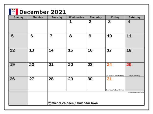 December 2021 Calendar, with the holidays of Iowa. Free printable calendar with public holidays.
