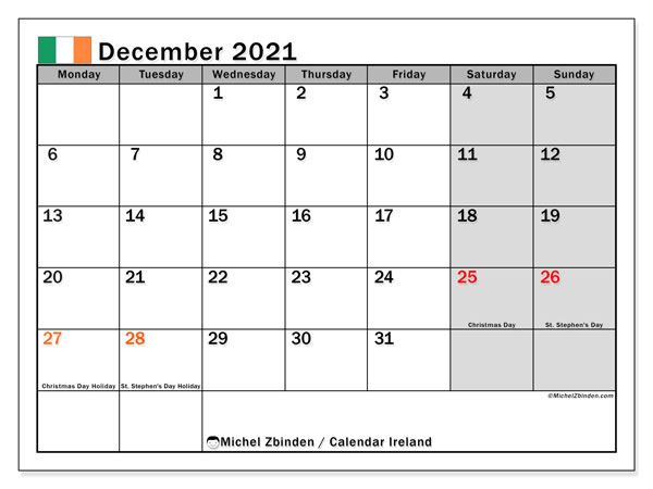 December 2021 Calendar, with the holidays of Ireland. Holidays calendar to print free.