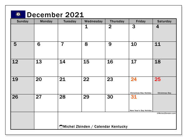 December 2021 Calendar, with the holidays of Kentucky. Free printable calendar with public holidays.