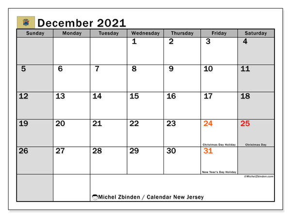December 2021 Calendar, with the holidays of New Jersey. Free printable calendar with public holidays.