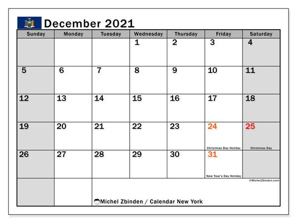 December 2021 Calendar, with the holidays of New York. Holidays calendar to print free.