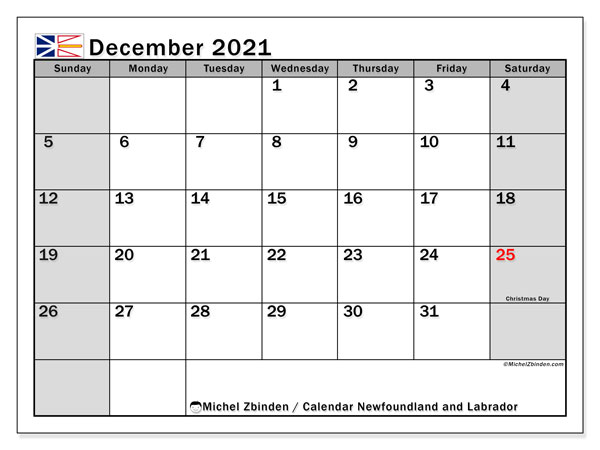 Calendar December 2021 - Newfoundland and Labrador. Public Holidays. Monthly Calendar and schedule to print free.