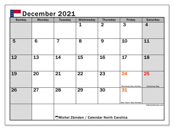 Calendar December 2021 - North Carolina. Public Holidays. Monthly Calendar and free bullet journal to print.