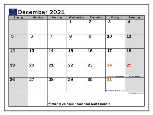 December 2021 Calendar, with the holidays of North Dakota. Free printable calendar with public holidays.